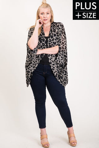 PLUS SIZE LEOPARD PRINT CARDIGAN in XL/1XL-1XL/2XL