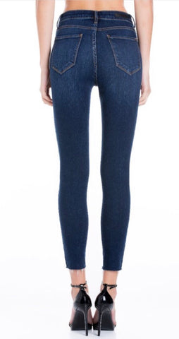 CELLO SKINNY JEANS HIGH RISE DARK WASH RAW HEM CROP
