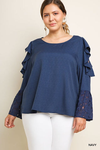 PLUS SIZE NAVY COLD SHOULDER TOP in XL-2XL
