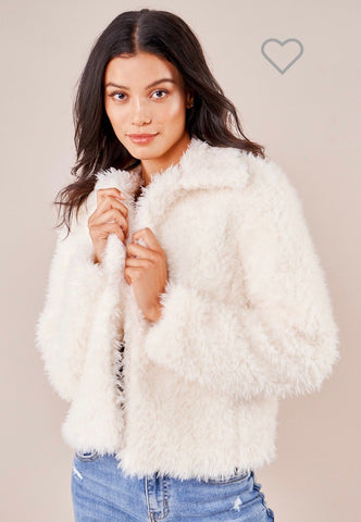 GRANT FAUX FUR CREAM JACKET