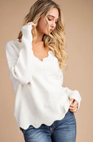 WARM & COZY CREAM SWEATER WITH SCALLOP DETAIL