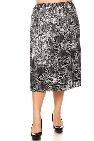 PLUS SIZE SNAKE PRINT MIDI SKIRT in XL-3XL