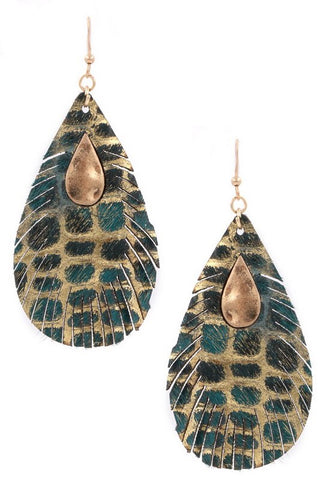GENUINE LEATHER TEARDROP EARRINGS IN SPOTTED TEAL
