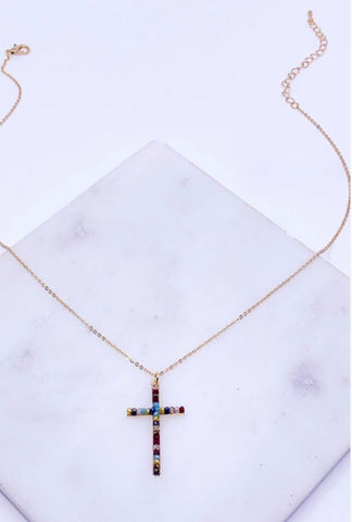 MULTICOLOR PAVE CROSS PENDANT NECKLACE