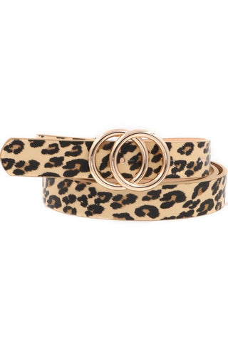 FAUX LEATHER LEOPARD PRINT BELT