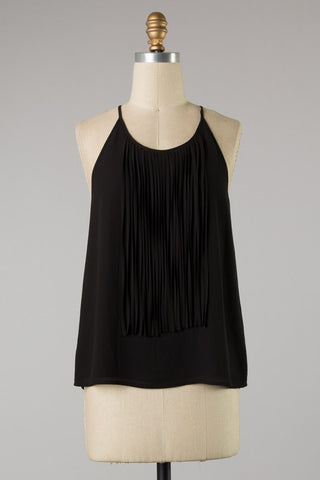 Sleeveless Top with Fringe Detail in Black S-L