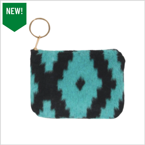 Aztec Print Coin Keychain Pouch | Turquoise