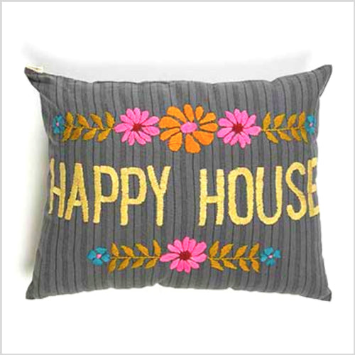 Hand Embroidered Pillow | Happy House