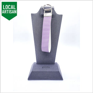 Wristlet Key Fob | Purple/White Stripes