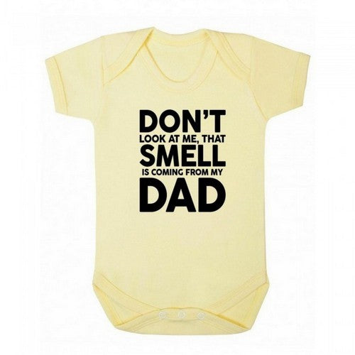 Yellow - Front - FLOSO Baby Boys-Girls That Smell Is Coming From My Dad Short Sleeve Bodysuit