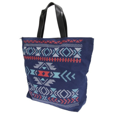 Front - FLOSO Womens/Ladies Cotton Rich Aztec Print Top Handle Handbag