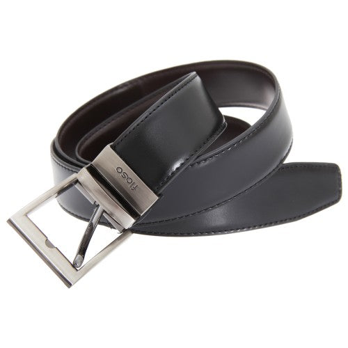 Front - FLOSO Mens Reversible Leather Belt