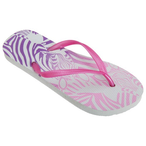 Front - FLOSO Womens/Ladies Zebra Pattern Toe Post Flip Flops