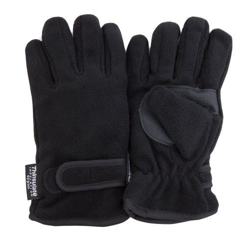 Front - FLOSO Childrens/Kids Thermal Thinsulate Fleece Gloves With Palm Grip (3M 40g)