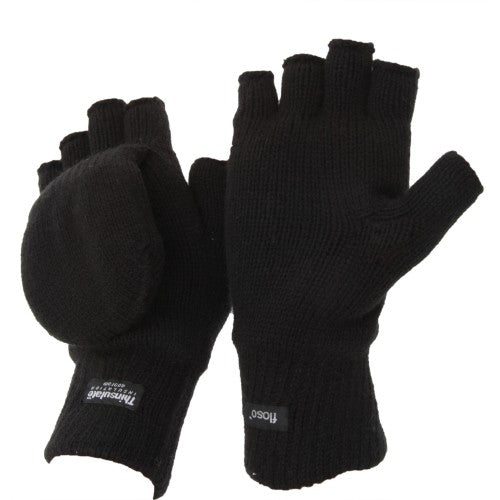 Front - FLOSO Unisex Mens/Womens Thinsulate Thermal Capped Winter Fingerless Gloves (3M 40g)