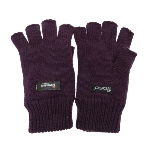 Front - FLOSO Ladies/Womens Thinsulate Thermal Fingerless Winter Gloves (3M 40g)