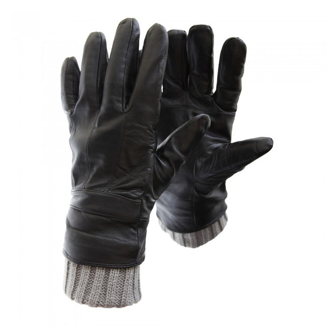 Front - FLOSO Mens Sheepskin Leather Gloves With Knit Trim
