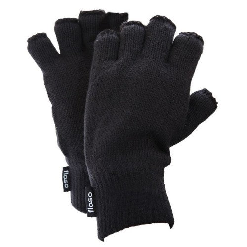 Front - FLOSO Mens Thinsulate Thermal Fingerless Gloves (3M 40g)