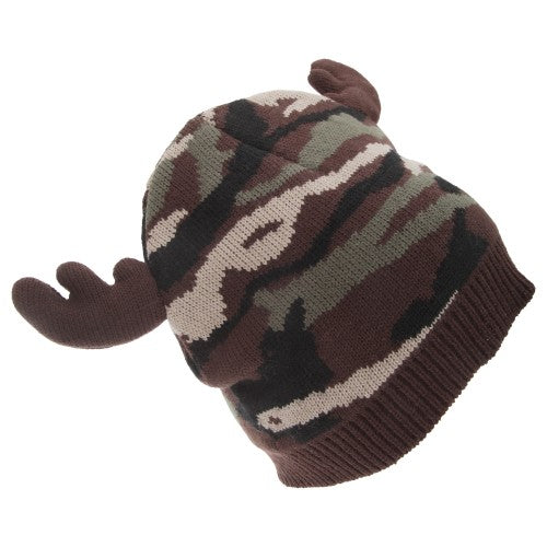 Front - FLOSO Mens Camo Pattern Winter Beanie Hat With Moose Antlers