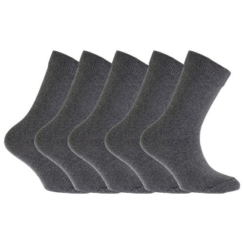 Front - FLOSO Childrens/Kids Plain School Socks (Pack Of 5)