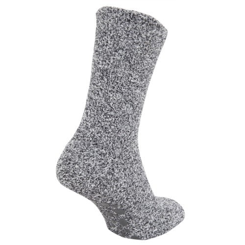Front - FLOSO Mens Warm Slipper Socks With Rubber Non Slip Grip