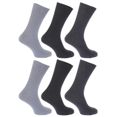 Front - FLOSO Mens Ribbed Non Elastic Top 100% Cotton Socks (Pack Of 6)
