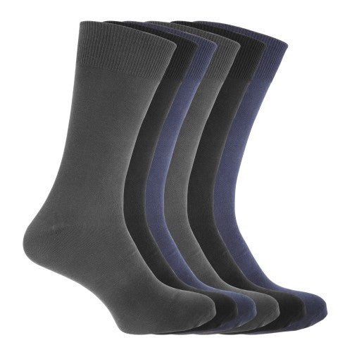 Front - FLOSO Mens Cotton Mix Lycra Socks (Pack Of 6)