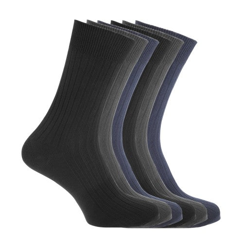 Front - FLOSO Mens Ribbed 100% Cotton Socks (6 Pairs)