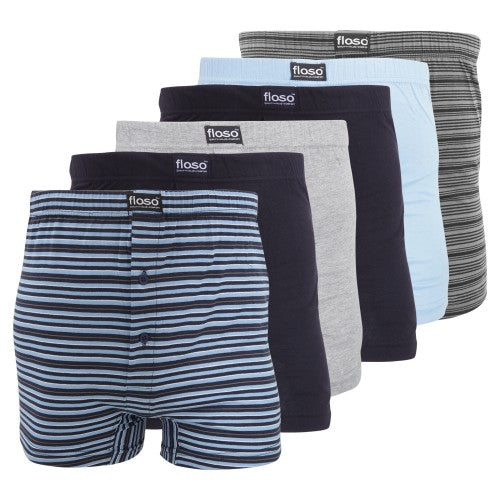 Front - FLOSO Mens Cotton Mix Boxer Shorts (Pack Of 6)