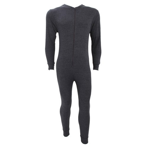 Front - FLOSO Mens Thermal Underwear All In One Union Suit With Rear Flap (Standard Range)