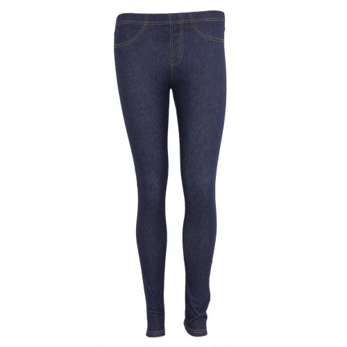 Front - FLOSO Ladies/Womens Jeggings (Jean Look Leggings)
