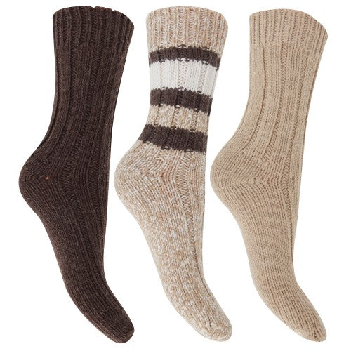 Front - FLOSO Ladies/Womens Thermal Thick Chunky Wool Blended Socks (Pack Of 3)