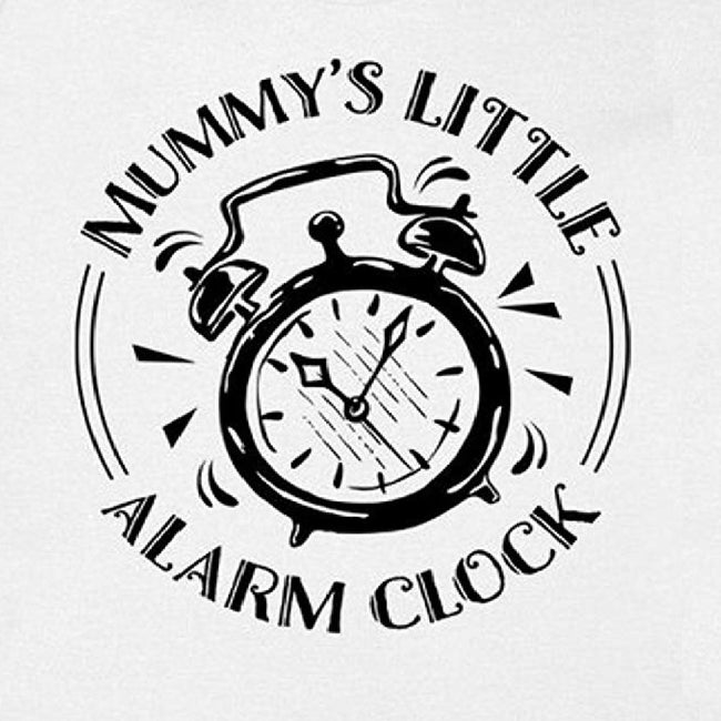 White - Back - FLOSO Baby Girls-Boys Mummys Little Alarm Clock Short Sleeve Bodysuit