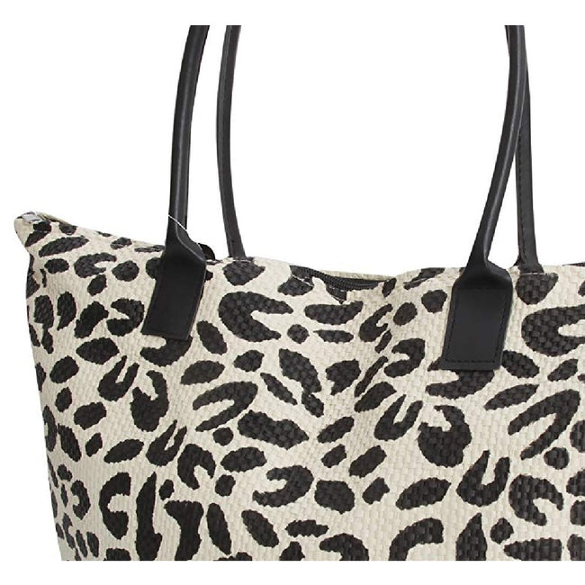 Leopard - Back - FLOSO Womens-Ladies Animal Print Woven Summer Handbag