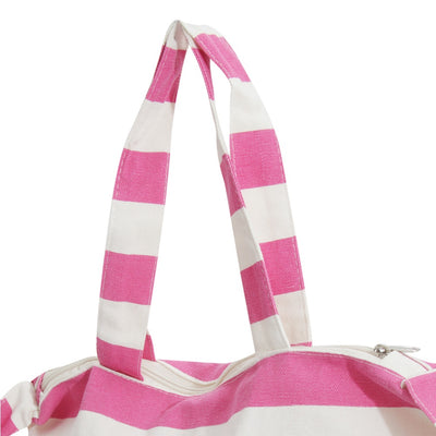 White-Mint - Front - FLOSO Womens-Ladies Striped Summer Handbag With Shoulder Strap