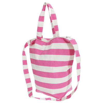 White-Pink - Front - FLOSO Womens-Ladies Striped Summer Handbag With Shoulder Strap