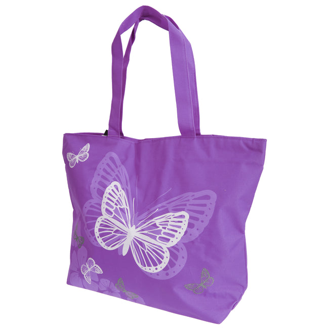 Blue - Front - FLOSO Womens-Ladies Floral Butterfly Design Handbag