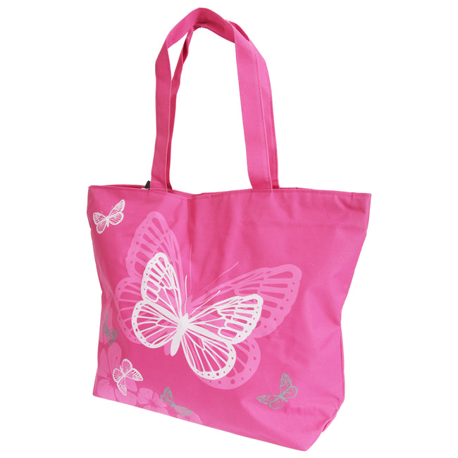 Fuchsia - Front - FLOSO Womens-Ladies Floral Butterfly Design Handbag
