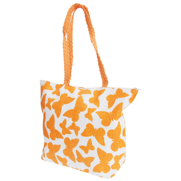 White-Orange - Front - FLOSO Womens-Ladies Straw Woven Butterfly Print Top Handle Handbag