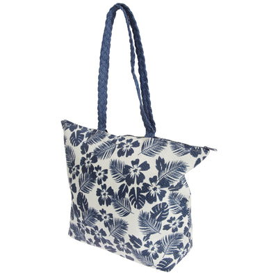 White-Navy - Front - FLOSO Womens-Ladies Floral Leaf Pattern Straw Woven Summer Handbag