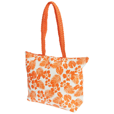 White-Coral - Front - FLOSO Womens-Ladies Floral Leaf Pattern Straw Woven Summer Handbag