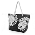 Black - Front - FLOSO Womens-Ladies Floral Design Woven Summer Handbag