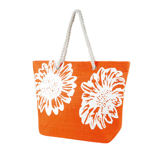 Coral - Front - FLOSO Womens-Ladies Floral Design Woven Summer Handbag