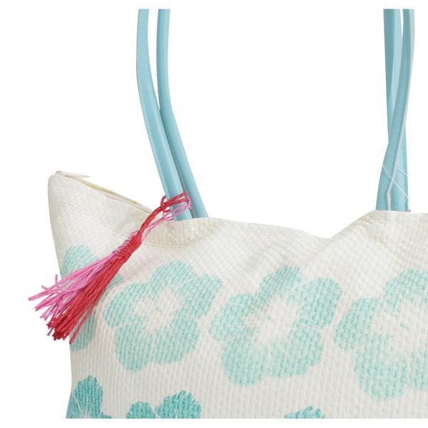 White-Pink - Front - FLOSO Womens-Ladies Floral Pattern Woven Summer Handbag