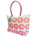 White-Pink - Back - FLOSO Womens-Ladies Floral Pattern Woven Summer Handbag