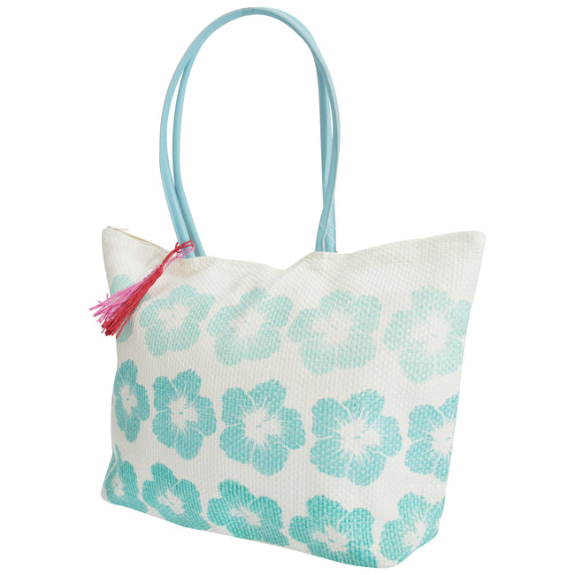 White-Turquoise - Front - FLOSO Womens-Ladies Floral Pattern Woven Summer Handbag