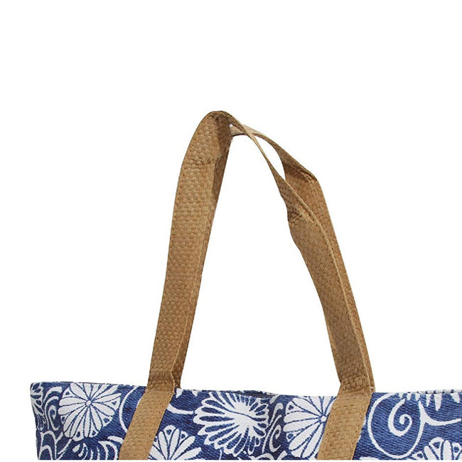 Blue - Back - FLOSO Womens-Ladies Woven Floral Print Summer Handbag