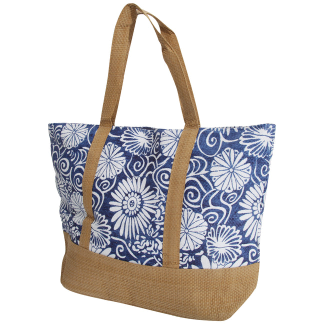 Blue - Front - FLOSO Womens-Ladies Woven Floral Print Summer Handbag