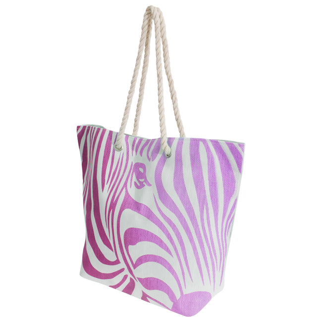 White-Pink - Front - FLOSO Womens-Ladies Zebra Stripe Patterned Straw Woven Summer Handbag