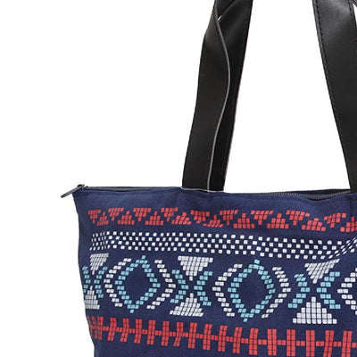 Navy - Back - FLOSO Womens-Ladies Cotton Rich Aztec Print Top Handle Handbag